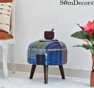 SamDecors Multipurpose Dan Round Pouffe Ottoman Three Leg Stool with Blue Printed Kantha Gudri Patchwork Upholstery