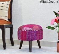 SamDecors Multipurpose Dan Round Pouffe Ottoman Three Leg Stool with Pink Printed Kantha Gudri Patchwork Upholstery