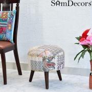 SamDecors Multipurpose Dan Round Pouffe Ottoman Three Leg Stool with White Printed Kantha Gudri Patchwork Upholstery