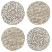Saral Home Decorative Jute & Cotton Printed Table Mat (Pack of 4 pc, 38×38 cm), White